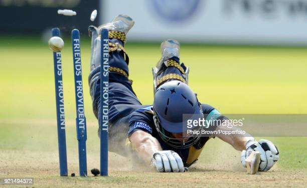 Hampshire batsman Jimmy Adams dives to make his ground during the Friends Provident Trophy Final between Hampshire and Sussex at Lord's Cricket...