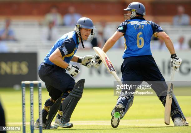 Hampshire batsman Jimmy Adams drops his bat after colliding with teammate Michael Lumb during the Friends Provident Trophy Final between Hampshire...