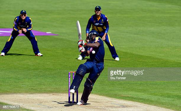 Hampshire batsman Michael Carberry is hit by a short ball from Michael Hogan and subsequently the match is abandoned due to a dangerous pitch during...