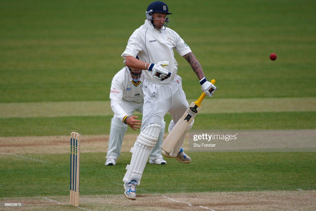 Hampshire batsman Nic Pothas fends off a short pitched ball during day three of the LV County Championship division one match between Durham and Hampshire at The Riverside on April 22, 2010 in Chester-le-Street, England.