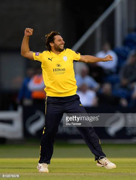 Hampshire bower Shahid Afridi celebrates his second wicket during the NatWest T20 Blast match between Glamorgan and Hampshire at SWALEC Stadium on...