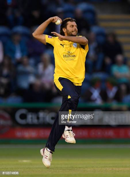 Hampshire bower Shahid Afridi in action during the NatWest T20 Blast match between Glamorgan and Hampshire at SWALEC Stadium on July 7 2017 in...