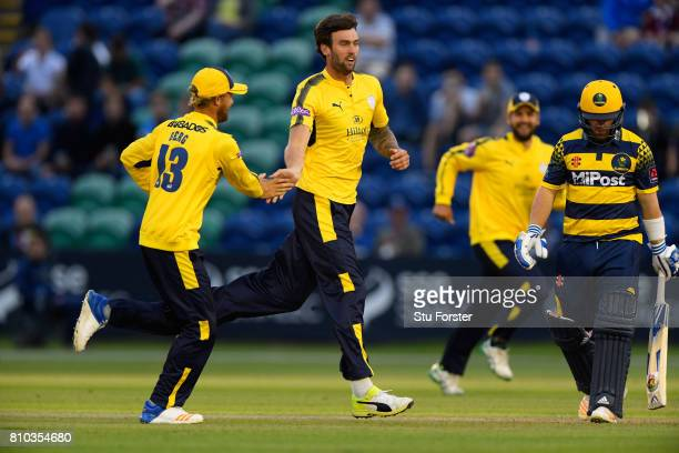 Hampshire bowler Reece Topley celebrates after dismissing David Lloyd first ball during the NatWest T20 Blast match between Glamorgan and Hampshire...