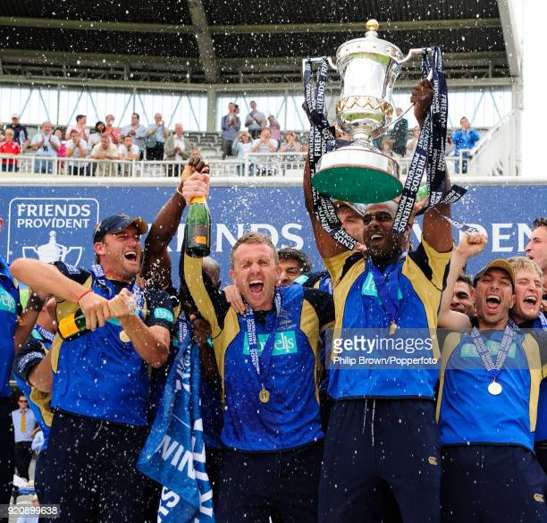 Hampshire captain Dimitri Mascarenhas holds up the Friends Provident Trophy as Hampshire celebrate winning the Friends Provident Trophy Final against...
