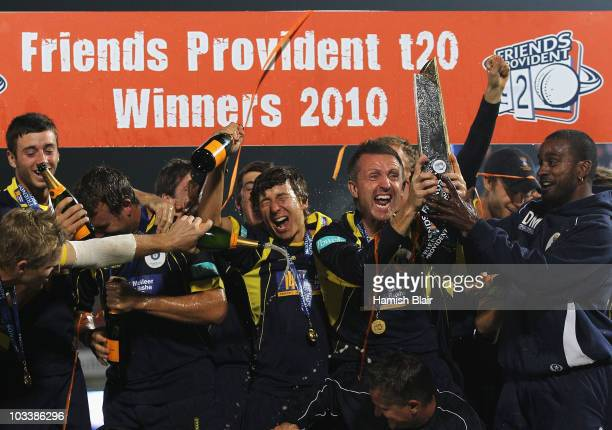 Hampshire celebrate with the trophy after the Friends Provident T20 Final between Hampshire Royals and Somerset at The Rose Bowl on August 14 2010 in...