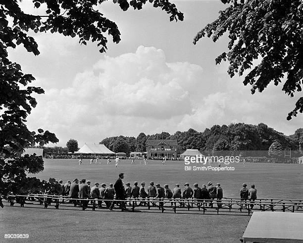 Hampshire County Cricket Club playing at the May's Bounty cricket ground in Basingstoke circa 1970