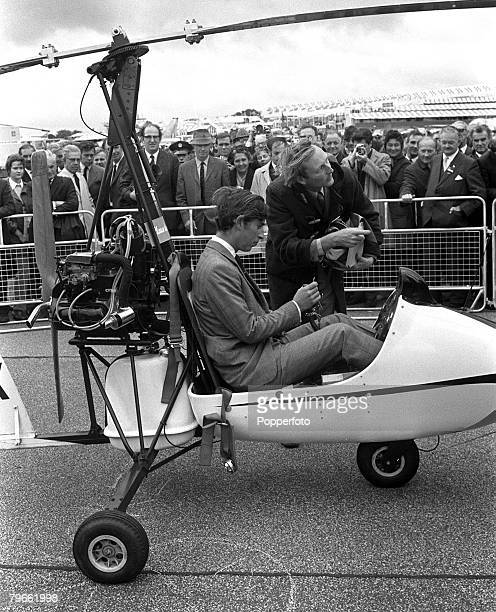 Hampshire England 8th September 1970 HRH Prince Charles tries out the Campbell Gyrocopter which sells for 1645 during his official visit to the...