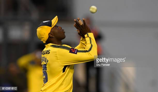 Hampshire fielder Michael Carberry catches Chris Cooke off the bowling of Shahid Afridi during the NatWest T20 Blast match between Glamorgan and...