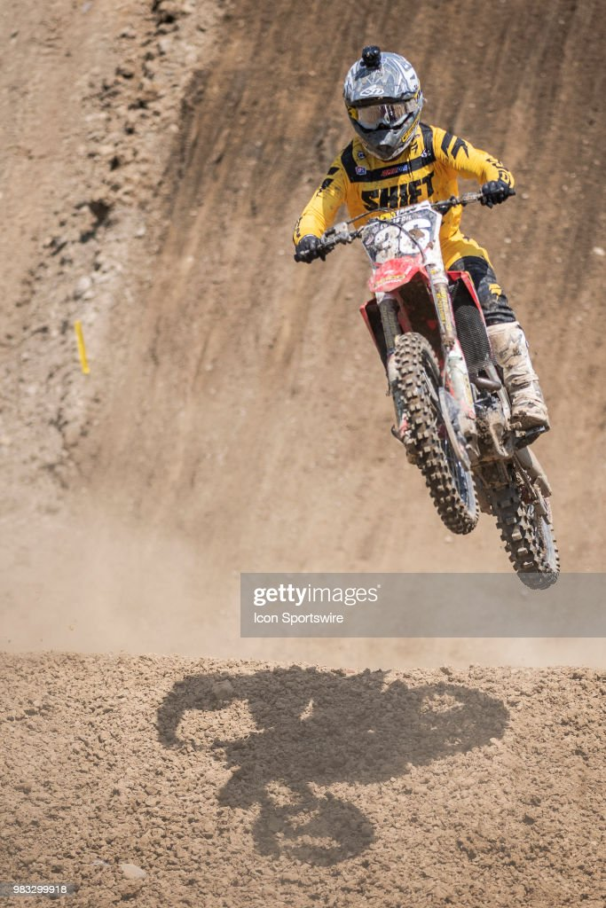 R.J. Hampshire (36) Flies Uphill On His Honda CRF250R During The Lucas Oil  Pro