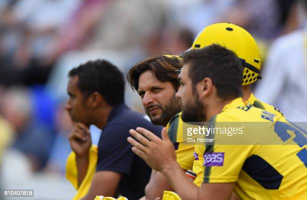 Hampshire player Shahid Afridi looks on during the NatWest T20 Blast match between Glamorgan and Hampshire at SWALEC Stadium on July 7 2017 in...