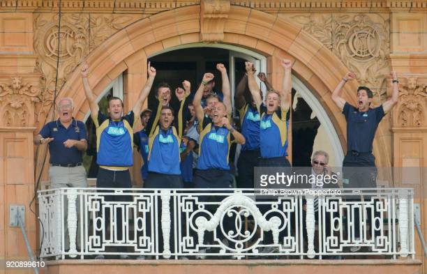 Hampshire players and coaches celebrate winning the Friends Provident Trophy Final between Hampshire and Sussex by 6 wickets at Lord's Cricket Ground...