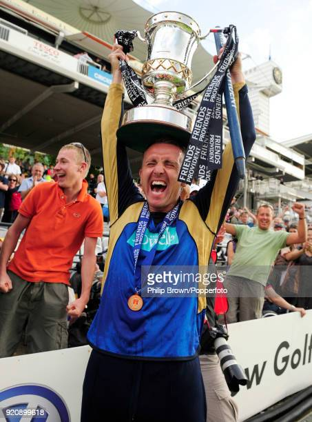 Hampshire's Dominic Cork holding the Friends Provident Trophy as Hampshire celebrate winning the Friends Provident Trophy Final against Sussex at...