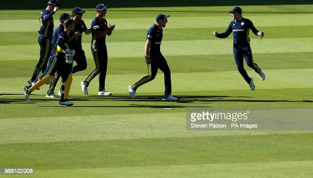 Hampshire's Mason Crane celebrates after he run's out Kent'ÂÂs Alex Blake during the Royal London One Day Cup Final at Lord's London