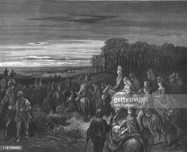 Hampstead Heath' 1872 Riders on Hampstead Heath in evening light From LONDON A Pilgrimage by Gustave Dore and Blanchard Jerrold [Grant and Co 7278...