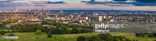 hampstead heath and london cityscap - aerial panorama - hampstead heath stock pictures, royalty-free photos & images