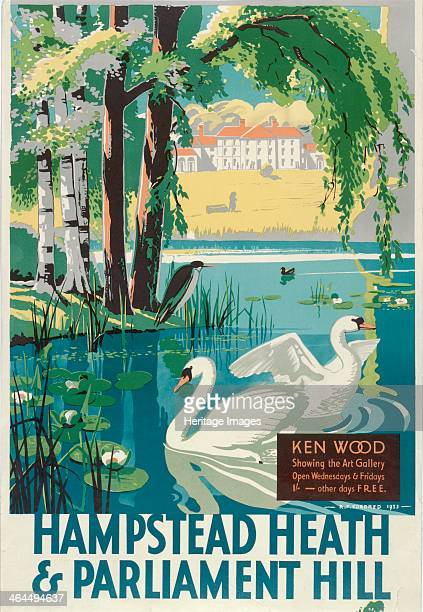 'Hampstead Heath and Parliament Hill' London County Council Tramways poster 1933 Showing a view of Kenwood House with two swans on the lake in the...
