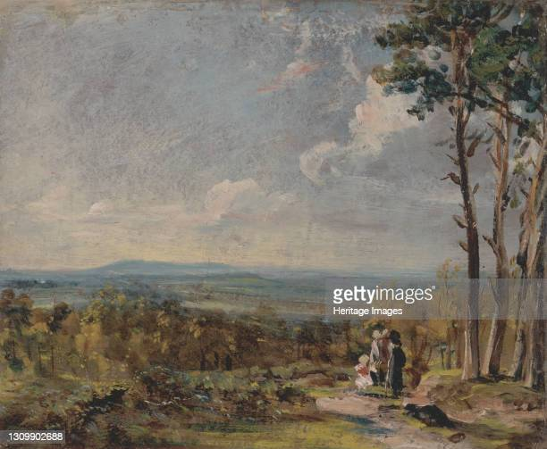 Hampstead Heath Looking Towards Harrow;A View on Hampstead Heath with Figures in the Foreground;Hampstead Heath Verso Harrow, 1821. Artist John...