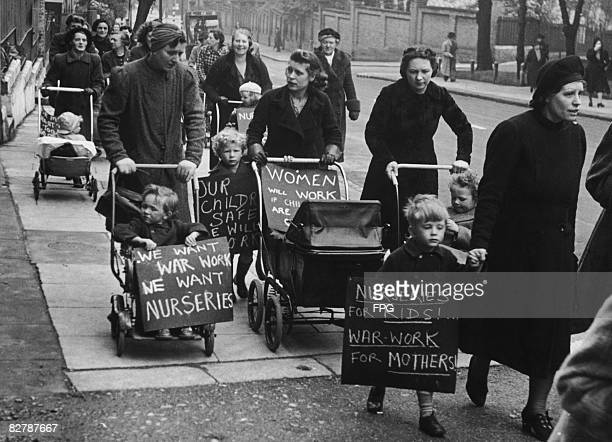 Hampstead mothers demand nurseries for their children to enable them to carry out war work circa 1942
