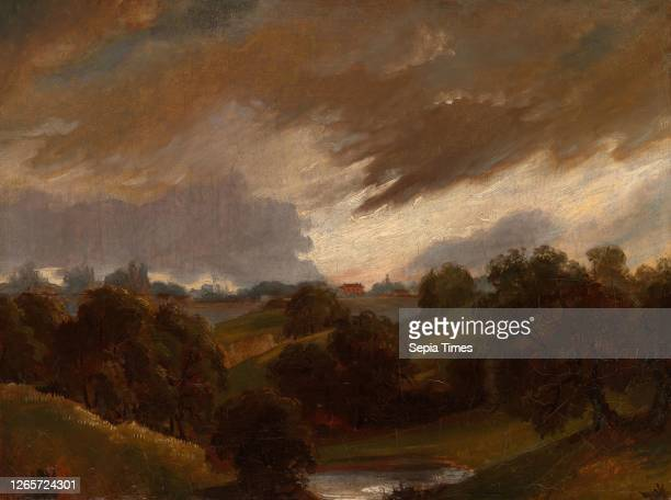 Hampstead, Stormy Sky In the style of John Constable, English, 1776-1837, England, Oil on canvas, 46 × 61 cm .