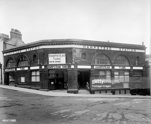 Hampstead Underground Station Hampstead London 1907 Hampstead Tube Station advertised as 'now open' after the Northern Line on which it lies was...