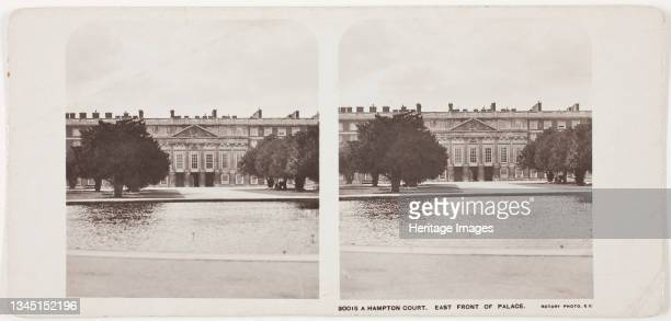 Hampton Court, East Front of Palace, 1860s. [Yew trees in the garden of Hampton Court Palace, Richmond, London]. Albumen print, stereocard. Artist...