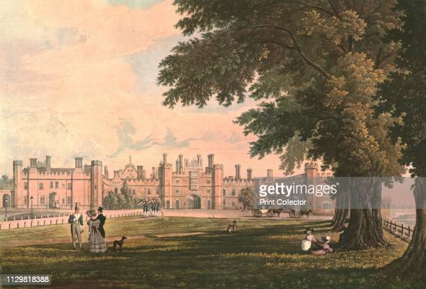 Hampton Court Palace, circa 1827. After H.B.Ziegler. Hampton Court Palace is a royal palace in the borough of Richmond upon Thames, England. Building...
