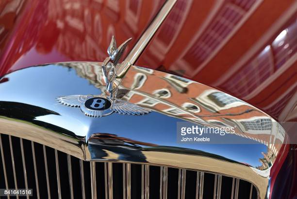 Hampton Court Palace is reflected in a Bentley radiator grill at the Concours of Elegance at Hampton Court Palace on September 1 2017 in London...