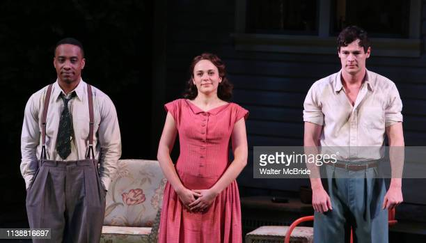 Hampton Fluker Francesca Carpanini and Benjamin Walker during the Broadway Opening Night Curtain Call for All My Sons at The American Airlines...