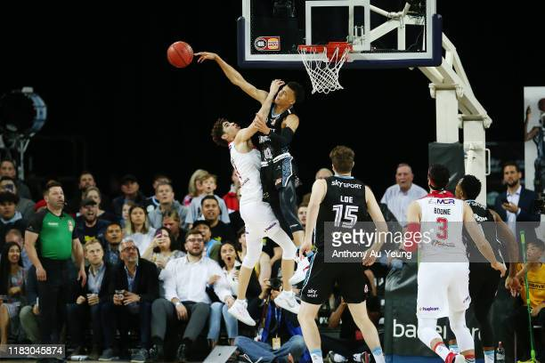 Hampton of the Breakers blocks the shot from LaMelo Ball of the Hawks during the round four NBL match between the New Zealand Breakers and the...