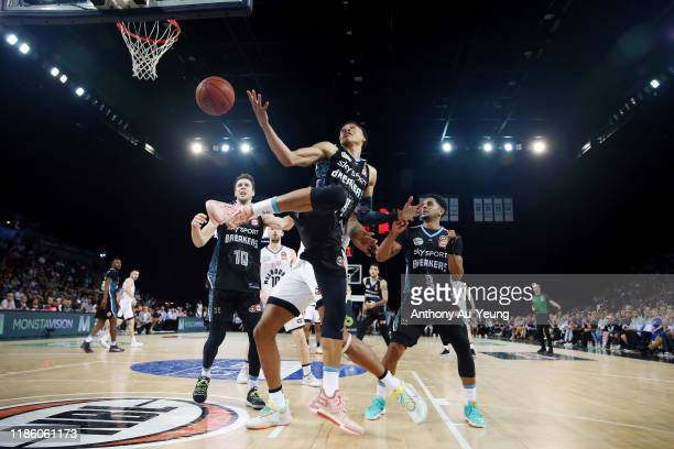 Hampton of the Breakers goes for the rebound against Shawn Long of United during the round 6 NBL match between the New Zealand Breakers and Melbourne...