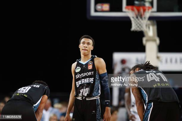 Hampton of the Breakers looks on during the round 6 NBL match between the New Zealand Breakers and Melbourne United at Spark Arena on November 07...