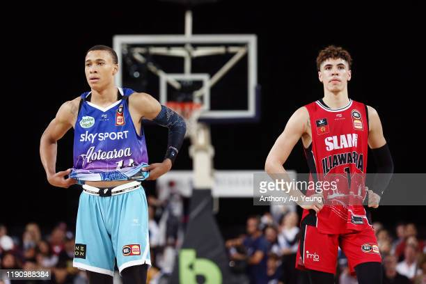 Hampton of the Breakers looks on with LaMelo Ball of the Hawks during the round 9 NBL match between the New Zealand Breakers and the Illawarra Hawks...