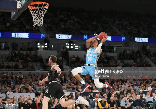 Hampton of the Breakers makes a layup during the round four NBL match between Melbourne United and the New Zealand Breakers at Melbourne Arena on...