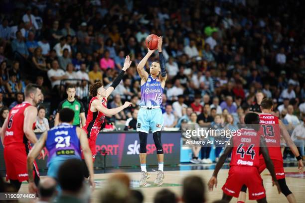 Hampton of the Breakers puts up a shot against LaMelo Ball of the Hawks during the round 9 NBL match between the New Zealand Breakers and the...