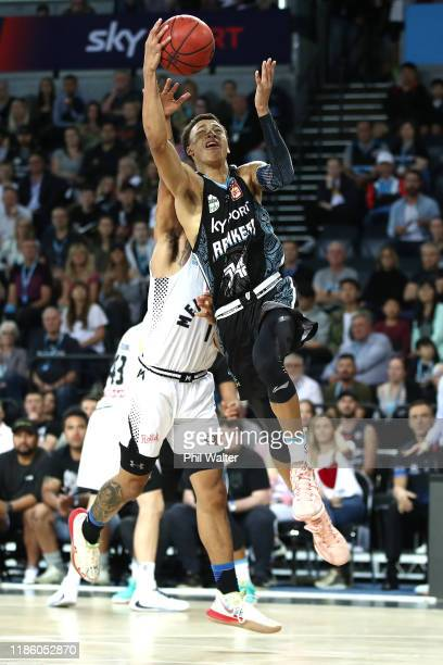 Hampton of the NZ Breakers lays up the ball during the round 6 NBL match between the New Zealand Breakers and Melbourne United at Spark Arena on...