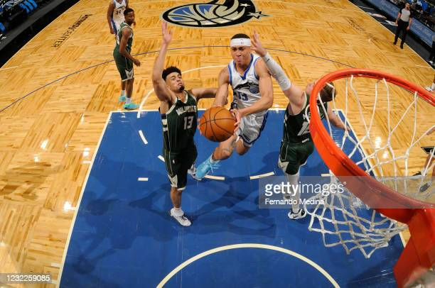 Hampton of the Orlando Magic drives to the basket during the game against the Milwaukee Bucks on April 10, 2021 at Amway Center in Orlando, Florida....