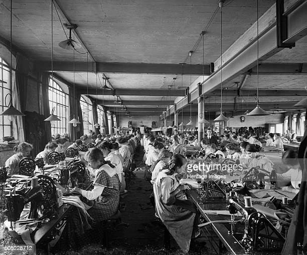 Hampton Sons Ltd munition works 43 Belvedere Road Lambeth London July 1916 Women working at sewing machines One of a series of photographs of Hampton...