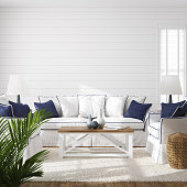Hampton style living room interior, wall mockup