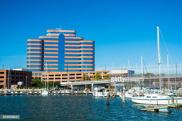 hampton, virginia including highrise building and marina - norfolk virginia stock pictures, royalty-free photos & images