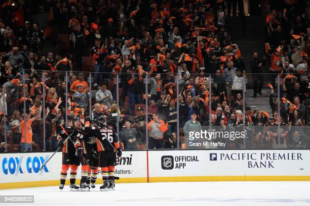Hampus Lindholm Jakob Silfverberg and Brandon Montour of the Anaheim Ducks celebrate a goal during the second period in Game Two of the Western...
