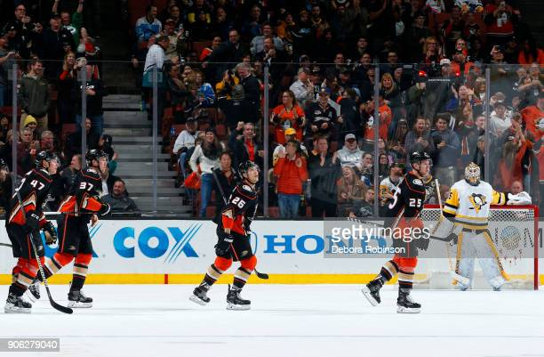 Hampus Lindholm Nick Ritchie Brandon Montour and Ondrej Kase of the Anaheim Ducks celebrate a goal in the second period against Tristan Jarry of the...