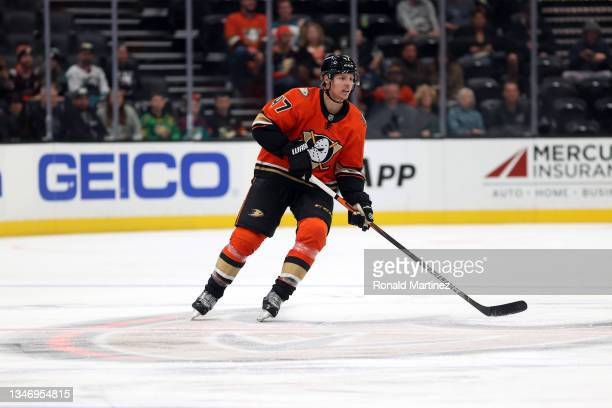 Hampus Lindholm of the Anaheim Ducks at Honda Center on October 15, 2021 in Anaheim, California.