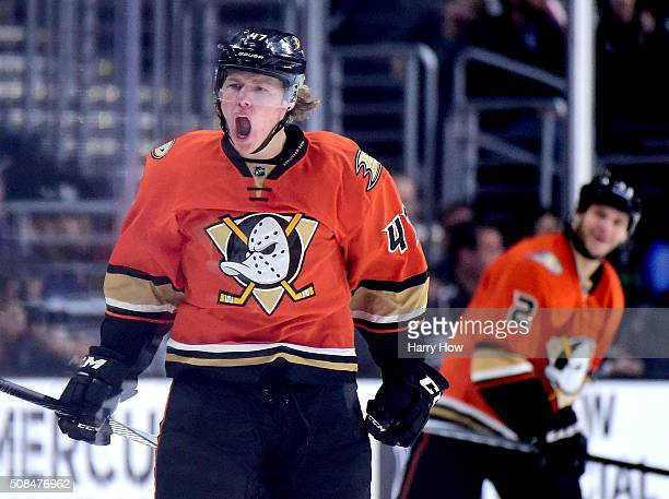 Hampus Lindholm of the Anaheim Ducks reacts to his power play goal with Kevin Bieksa to take a 41 lead over the Los Angeles Kings during the second...