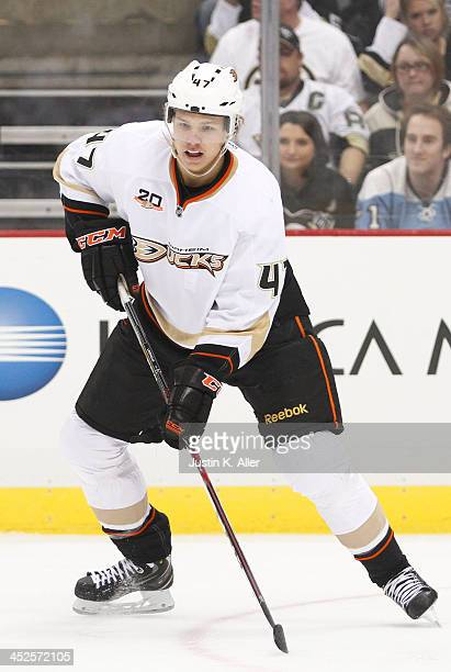 Hampus Lindholm of the Anaheim Ducks skates against the Pittsburgh Penguins during the game at Consol Energy Center on November 18, 2013 in...