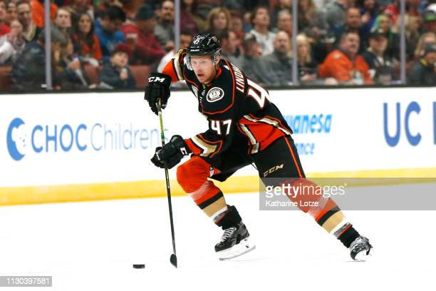 Hampus Lindholm of the Anaheim Ducks skates down the ice during the first period against the Washington Capitals at Honda Center on February 17 2019...