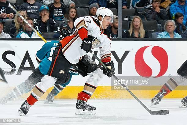 Hampus Lindholm of the Anaheim Ducks skates during a NHL game against the San Jose Sharks at SAP Center at San Jose on November 26, 2016 in San Jose,...
