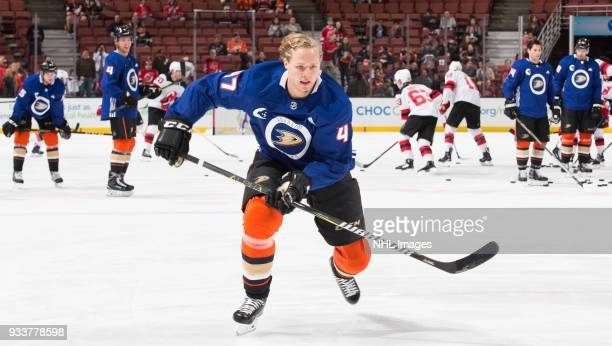 Hampus Lindholm of the Anaheim Ducks skates during warmup before the game against the New Jersey Devils at Honda Center on March 18 2018 in Anaheim...