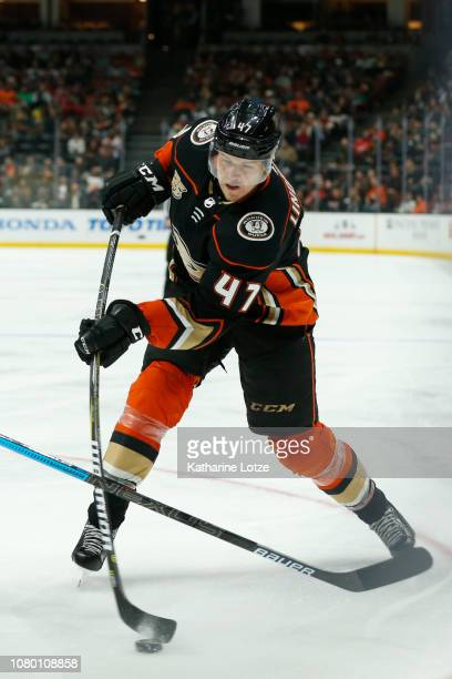 Hampus Lindholm of the Anaheim Ducks takes a shot on goal against the New Jersey Devils at Honda Center on December 09 2018 in Anaheim California