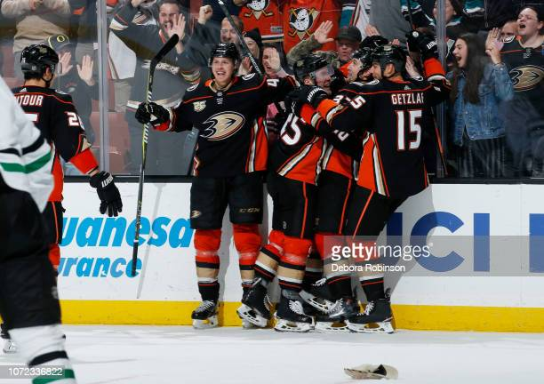 Hampus Lindholm Ondrej Kase Nick Ritchie and Ryan Getzlaf of the Anaheim Ducks celebrate Kase's hattrick goal the first of his NHL career during the...
