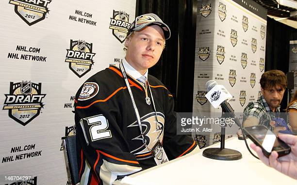 Hampus Lindholm sixth overall pick by the Anaheim Ducks speaks to media during Round One of the 2012 NHL Entry Draft at Consol Energy Center on June...
